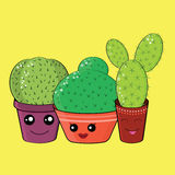 Hilarious family of cacti on a yellow background. Cute kawaii smiling cactuses.Baby and kids style abstract background Royalty Free Stock Photos