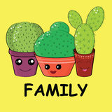 Hilarious family of cacti. On a yellow background.Cute kawaii smiling cactuses.Baby and kids style abstract background Stock Photos