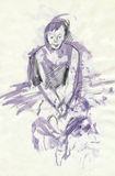 Hilarious figure. Hand drawing picture with ballerina´s sitting pose Royalty Free Stock Image