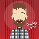 Hilarious guy stand up comedian cartoon. Male stand up comedian cartoon character  illustration Stock Photography