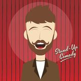 Hilarious guy stand up comedian cartoon. Male stand up comedian cartoon character  illustration Royalty Free Stock Image