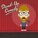 Hilarious guy stand up comedian cartoon. Male stand up comedian cartoon character  illustration Royalty Free Stock Photo