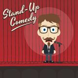 Hilarious guy stand up comedian cartoon Stock Photography