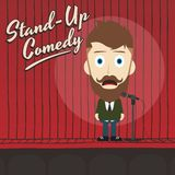 Hilarious guy stand up comedian cartoon Stock Photo