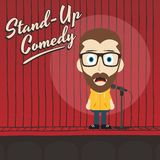 Hilarious guy stand up comedian cartoon. Male stand up comedian cartoon character  illustration Royalty Free Stock Photography