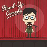Hilarious guy stand up comedian cartoon Stock Images