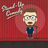 Hilarious guy stand up comedian cartoon Royalty Free Stock Photos