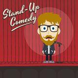 Hilarious guy stand up comedian cartoon Royalty Free Stock Photography