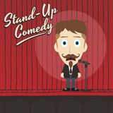 Hilarious guy stand up comedian cartoon Royalty Free Stock Photos
