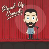 Hilarious guy stand up comedian cartoon Royalty Free Stock Images