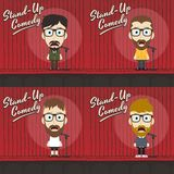 Hilarious guy stand up comedian cartoon. Male stand up comedian cartoon character  illustration Royalty Free Stock Images