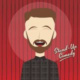 Hilarious guy stand up comedian cartoon. Male stand up comedian cartoon character  illustration Stock Images