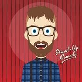 Hilarious guy stand up comedian cartoon. Male stand up comedian cartoon character  illustration Stock Image