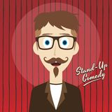 Hilarious guy stand up comedian cartoon. Male stand up comedian cartoon character  illustration Royalty Free Stock Photos