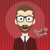 Hilarious guy stand up comedian cartoon. Male stand up comedian cartoon character  illustration Stock Photo