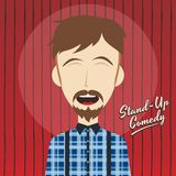 Hilarious guy stand up comedian cartoon Royalty Free Stock Image