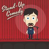 Hilarious guy stand up comedian cartoon. Male stand up comedian cartoon character  illustration Stock Photos