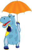 Hilarious hippo. Comes with an umbrella in his hand Stock Images