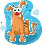 Funny Dog Scratching Fleas Vector Cartoon stock images