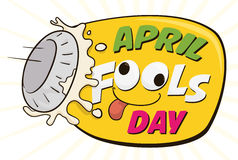 Hilarious Pieing April Fools' Day Sign, Vector Illustration Royalty Free Stock Photos