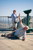 Hilarious senior man tourist on Gibraltar Rock Royalty Free Stock Image