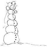 Hilarious tall snowman - vector illustration black sketch. On white Royalty Free Stock Photo