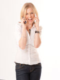 Hilarious two phone conversation Royalty Free Stock Photography