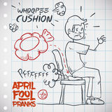 Hilarious Whoopee Cushion Prank, Vector Illustration. Man unaware of whoopee cushion sits on it an gets embarrassed, classic prank for April Fools' Day draw in a Stock Photography
