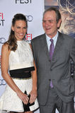 Hilary Swank & Tommy Lee Jones. LOS ANGELES, CA - NOVEMBER 11, 2014: Hilary Swank & Tommy Lee Jones at the gala screening of their movie The Homesman as part of Stock Photography