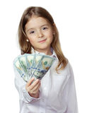 Сhild Girl In White Shirt Holding Money Isolated On White.Finacial Business Concept. Royalty Free Stock Image