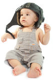 Сhild in a helmet of the tankman Royalty Free Stock Images