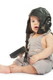 Сhild in a helmet of the tankman Royalty Free Stock Photography