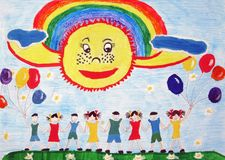 Сhild`s drawing. Children together holding hands. Children together holding hands with balloons outdoors.Сhild`s drawing.Enviroment protection Stock Photography