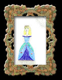 Hild's drawing a girl . Hild's drawing a girl in a long dress in elegant frame stock illustration