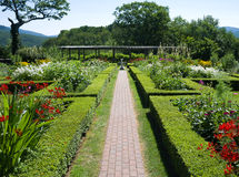 Hildene Farm Gardens. Formal gardens at the historic summer home of Robert Todd Lincoln in Manchester, Vermont stock photography