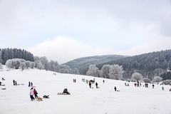 Hildren滑冰在雪的冬天跑的雪橇 库存照片
