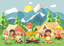 Hildren boy sings playing guitar with girl scouts, camping on nature, hike tents and backpacks, adventure park outdoor. Stock vector illustration cartoon Royalty Free Stock Photography