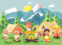 Hildren boy sings playing guitar with girl scouts, camping on nature, hike tents and backpacks, adventure park outdoor. Stock vector illustration cartoon Stock Image