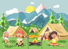 Hildren boy sings playing guitar with girl scouts, camping on nature, hike tents and backpacks, adventure park outdoor. Stock vector illustration cartoon Stock Images