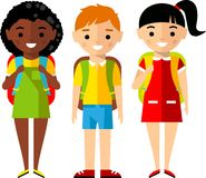 Сhildren characters european and african american in cartoon style Stock Image