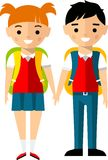 Сhildren characters european and african american in cartoon style Royalty Free Stock Photo