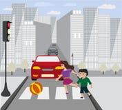 hildren correu na estrada, quando era o sinal vermelho ilustração royalty free