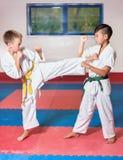 ?hildren demonstrate martial arts working together Stock Image