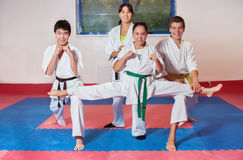 ?hildren demonstrate martial arts working together Royalty Free Stock Image