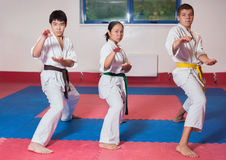 ?hildren demonstrate martial arts working together Stock Photo