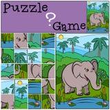 Hildren games: Puzzle. Cute elephant. Stock Image