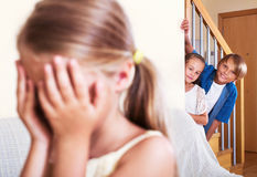 Hildren hiding from girl with closed eyes Stock Photos