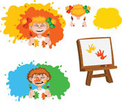 Сhildren and paints Stock Photography