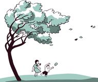 Сhildren Playing In a Strong Wind. Coloured  drawing of a girl and boy playing in the strong wind under the big tree. This image is a  illustration and can be Royalty Free Stock Photo