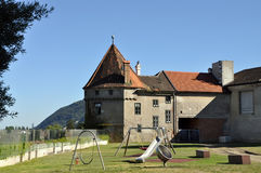 Сhildren's playground in Klosterneuburg. Austria. Сhildren's playground near a twelfth-century Augustinian monastery of the Roman Catholic Church located in Stock Photo